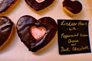 Dark Chocolate Peppermint Linzer Hearts