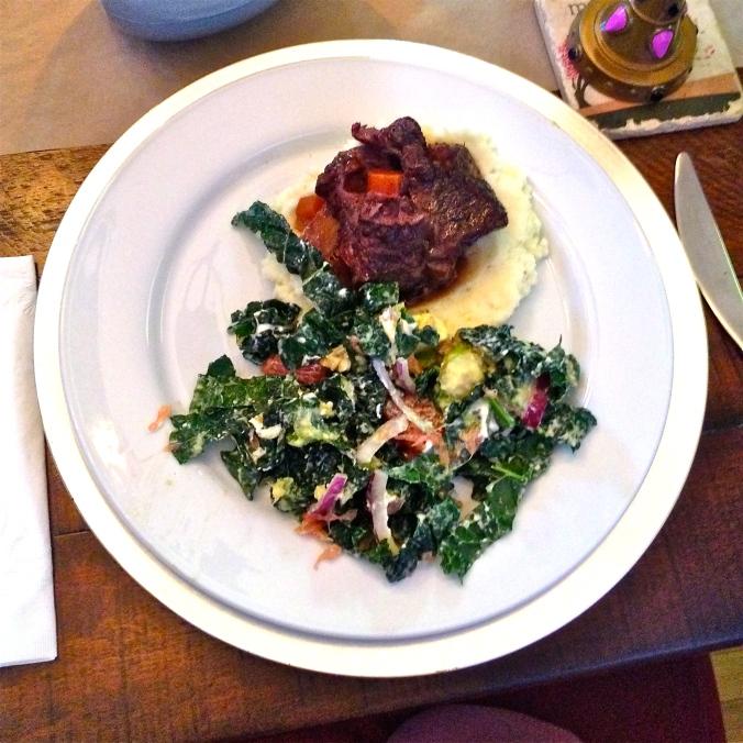Zinfandel Braised Short Ribs, Healthy(ish) Mashed Potatoes and Kale Salad