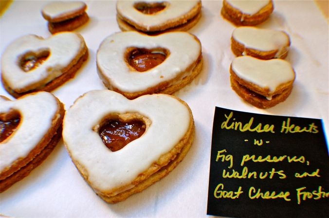 Linzer Hearts get upgraded with wheat flour, fig filling and a goat cheese glaze