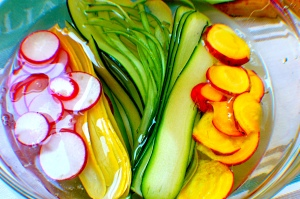 Add radishes and beets to keep fresh and give the zucchini some friends