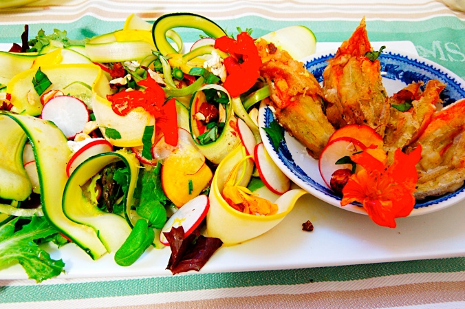 Zucchini Salad and Fried Squash Blossoms