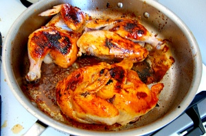 "The sugars from the marmalade will ""burn"" on the chicken and turn it a beautiful deep golden brown"