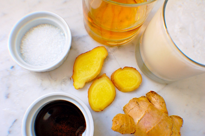 Ingredients for Ginger Rum ice cream