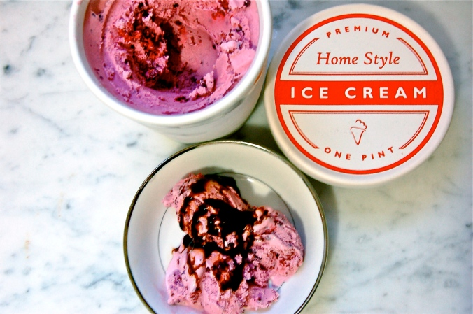 Blackberry Ice Cream with Balsamic Glaze