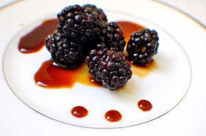 Fresh blackberries from JSM Organics and aged balsamic vinegar from We Olive
