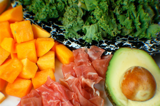 Ingredients for crispy prosciutto, butternut squash, and kale salad