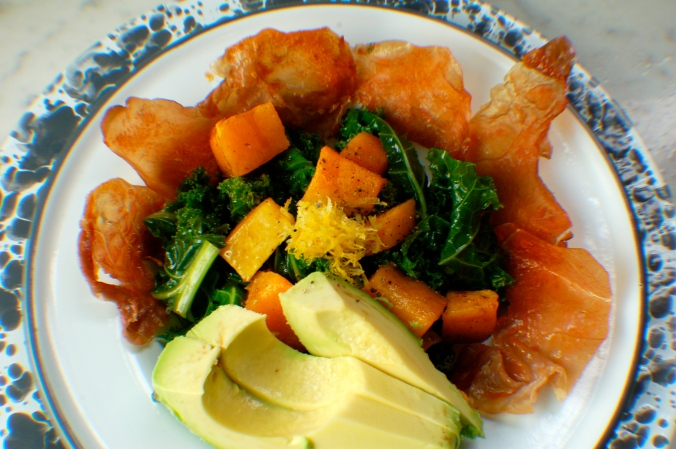 Perfectly crispy, balanced, salty, sweet, and healthy Crispy Prosciutto, Butternut Squash and Kale salad.