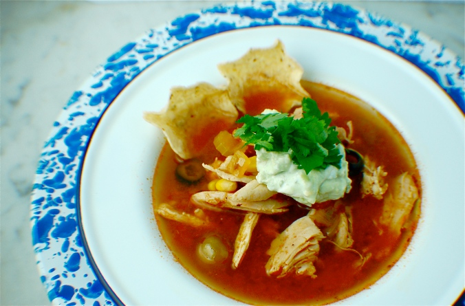 Homemade Adobo Chicken Tortilla Soup. Plate: Crow Canyon Home
